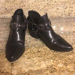 Steve Madden black ankle leather cowboy boots